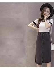 Primavera sinal nova versão coreana foi saia jeans fino irregular