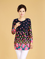 Tee-shirt Femme,Fleur Sortie Chinoiserie Manches Longues Col Arrondi Coton