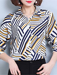 Fashion Lapel Long Sleeves Wild Printing Upper Outer Garment Daily Leisure Home Dating Party Shirt