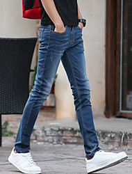 2017 spring and summer men's jeans stretch Slim feet long pants influx of men's casual blue