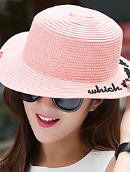 Women 's Spring Summer Cloth Strips English Embroidery Bow Straws Flat Top Shade Beach Holiday Hat
