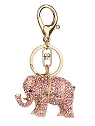 Key Chain Elephant Key Chain White Pink Metal