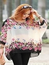 Damen Solide Einfach Lässig/Alltäglich T-shirt,V-Ausschnitt Langarm Seide