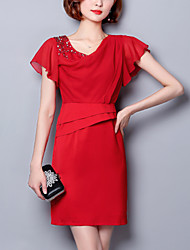Women's Work Party Street chic Bodycon Shift Dress Patchwork Beaded Pleated Above Knee Short Sleeve Butterf Silk Red /Black Summer High Waist