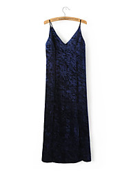 Women's Casual/Daily Simple T Shirt Dress,Solid V Neck Midi Sleeveless Rayon Summer Low Rise Micro-elastic Medium