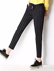 Feminino Simples Cintura Alta Micro-Elástico Chinos Calças,Solto Listrado