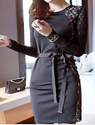 O novo europeus e americanos nightclub sexy rendas costura cinto oco arco de manga comprida vestido pacote quadril