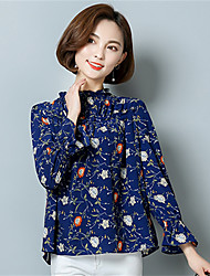 Women's Going out Casual/Daily Street chic Spring Blouse,Floral Stand Long Sleeve Polyester Medium