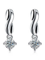 Concise Silver Plated Clear Crystal 1 Style Stud Earrings for Wedding Party Women Jewelry Accessiories