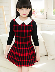 Girl's Holiday Plaid Dress,Cotton Spring Long Sleeve