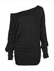 Damen Solide Sexy Sport T-shirt,Trägerlos Frühling Langarm Polyester