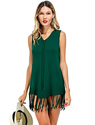 Women's Casual/Daily Sexy Simple Shirt,Solid V Neck Sleeveless Polyester