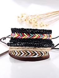 4pcs/set Punk Men's Bracelet PU Leather Bracelet Adjustable Beads Multilayer for Men Fashion Jewelry