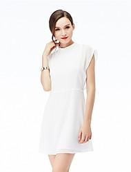 la venta de eBay velocidad a través de la gasa de las mangas del color puro semi-cuello alto caliente del vestido atractivo de la cintura