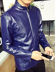 Masculino Jaquetas de Couro Casual Bandagem Simples Primavera Outono,Sólido Padrão Pele Colarinho Chinês Manga Longa