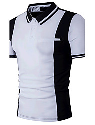 Men's Casual/Daily Simple Active Summer Polo,Color Block Shirt Collar Short Sleeves Cotton Medium