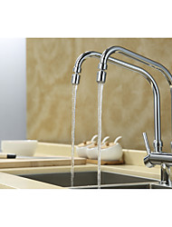 Contemporary Standard Spout Centerset Rotatable with  Ceramic Valve Two Handles Two Holes for  Chrome , Kitchen faucet