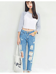 Excellent customer really making 2017 spring new loose light color jeans female hole