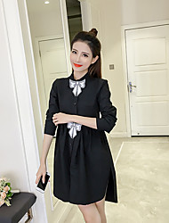 Custom princess sequined bow collar College Wind cotton long-sleeved white shirt dress real shot