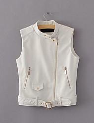 Feminino Jaqueta jeans Casual Simples Primavera Outono,Sólido Curto Poliuretano Colarinho Chinês Sem Mangas