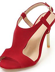Черный Красный Розовый-Для женщин-Для офиса Для праздника Повседневный-Дерматин-На шпильке-клуб Обувь-Сандалии