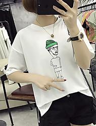 Dames Eenvoudig T-shirt,Uitgaan Effen Ronde hals Korte mouw Katoen
