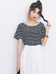 My little friends Sign 2017 Spring modal round neck striped T-shirt 1