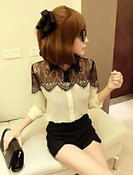Autumn new European style black lace long-sleeved chiffon shirt small fragrant wind