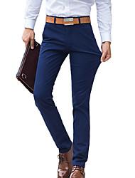 Homme simple Taille Normale Micro-élastique Chino Pantalon,Mince Droite Couleur Pleine