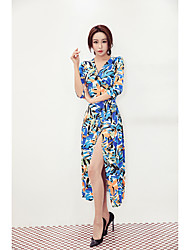 Sign V-neck painted painting Paris tone pattern sexy woman Slit Sleeve Dress