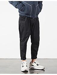 Masculino Simples Cintura Média Com Elástico Chinos Calças,Solto Listrado