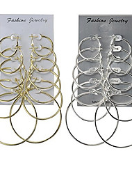 6 pairs Gold Silver Hoop Earrings Jewelry Basic Multi-ways Wear Classic Alloy Round Jewelry ForWedding Party Special Occasion Anniversary Birthday