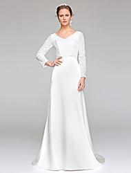 Lanting Bride® Tubinho Vestido de Noiva Cintilante e Brilhante Cauda Escova Decote V Renda Paetês com Paetês