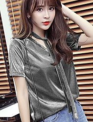 Sign streets neutral metallic lace V-neck T-shirt straight summer tide 2017 with video