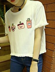 Real Schuss nett ~ 2017 Sommer neue süße College Wind niedlich gesäumten Baumwolle kurzen T-Shirt 3 Farben