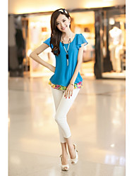 * Korean loose round neck short-sleeved chiffon shirt fake two
