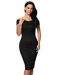Women's Off Shoulder Slim Fit Midi Dress