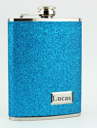 Personalized Stainless Steel 8-oz Blue Leather Hip Flasks