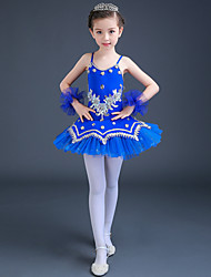 Ballet Dresses Kid's Performance Spandex Tulle Crystals/Rhinestones Paillettes / Lace 3 Pieces Sleeveless High Dress / Bracelets Girl's Dance Costume