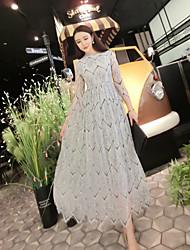 Large waist lace sleeve swing dress