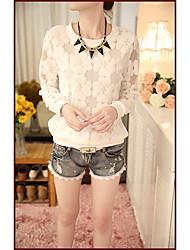 Damen Solide Sexy Übergröße T-shirt,V-Ausschnitt Langarm Seide