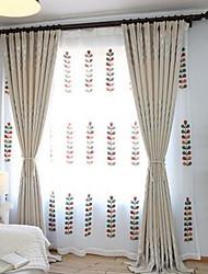 Coleção Tratamento janela (cortinas e Sheer) Tratamento janela Moderno , Flor Quarto Poliéster Material Cortinas BlackoutDecoração para