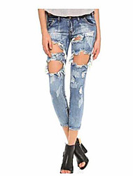 Women's Mid Rise Micro-elastic Jeans Pants,Sexy Slim Solid