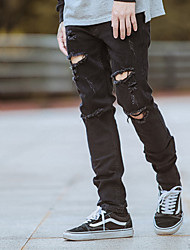 Men's Mid Rise Micro-elastic Jeans Pants,Simple Skinny Ripped Solid