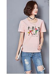 Damen Solide Einfach Ausgehen T-shirt,Rundhalsausschnitt Kurzarm Baumwolle Leinen