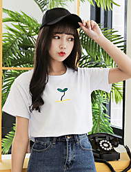 40 2017 summer cute cotton wool extinction grass embroidered short-sleeved T-shirt female