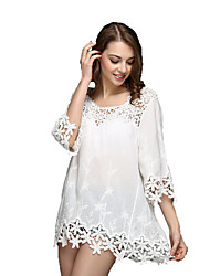 Women's Beach Boho Cute Loose Dress,Embroidered Round Neck Mini ½ Length Sleeve Cotton Polyester Nylon Spring Summer High Rise