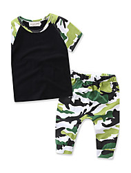 Boys' kid Casual/Daily Formal Sports Striped Print Geometric SetsCotton Summer Short Sleeve Pants Camouflage Clothing Set