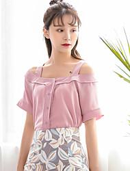 Sign summer new Korean version of sweet wild word shoulder straps loose chiffon shirt shirt