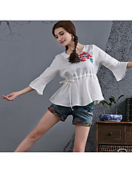 New women's national wind embroidery waist hollow Literary seven lotus sleeve shirt lotus leaf hem